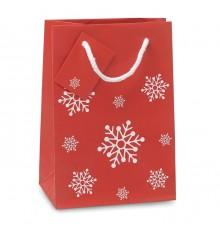 Sac cadeau en papier petit format à motifs flocons de neige