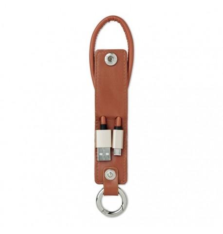 Porte-clés en PU et câble de chargement 2 couleurs différentes