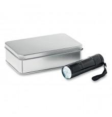Lampe torche 9 LED dans une boite en fer blanc