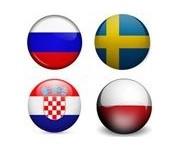 Russie, Suède, Croatie, Pologne